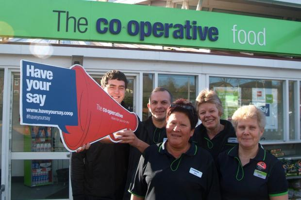 Hereford Times: (l-r) Co-op staff Jamie Humphreys, Fred Barrett, Alison Jones, Louise Preece and Glad Skinner.