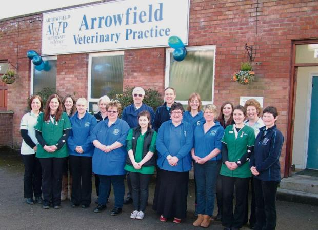 Hereford Times: The staff of  Arrowfield Veterinary Practice are celebrating becoming owners of the practice. Picture: Jane Bywater.