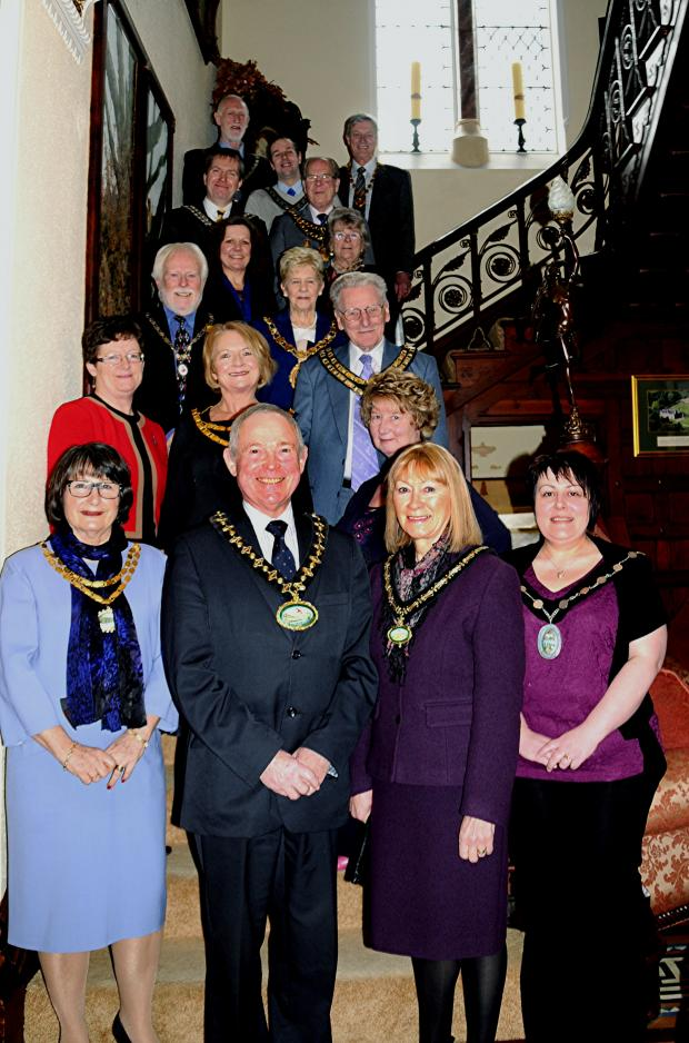 Hereford Times: The chairman of Powys County Councillor John Brunt and his wife are pictured with the mayors at the reception. Photo by Brights Studio.