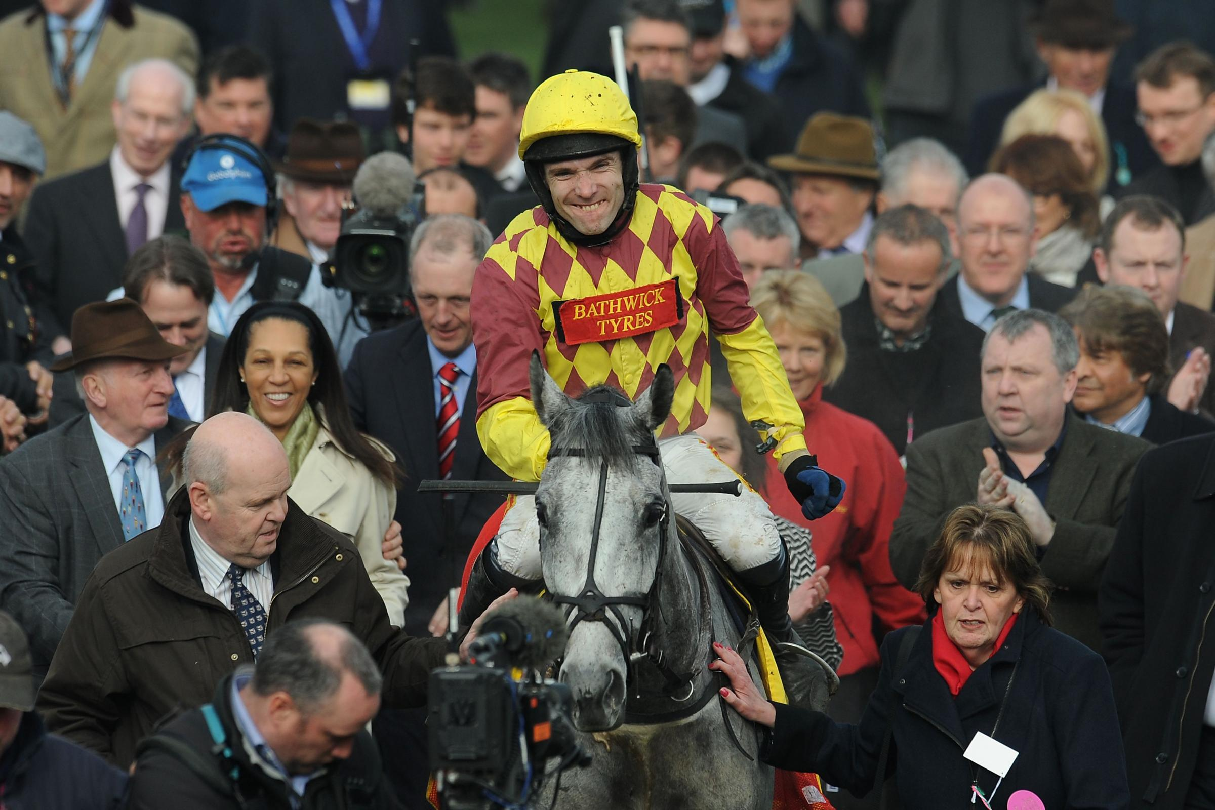 Tom and Dynaste in the winners' enclosure.