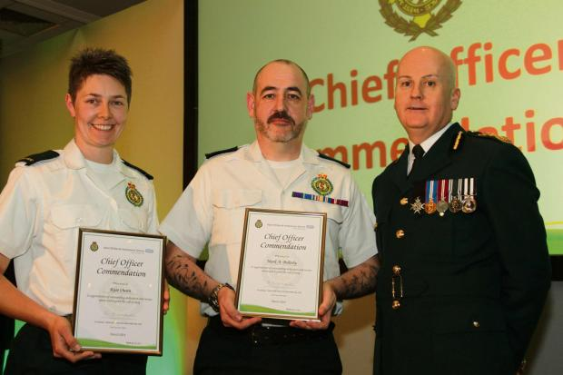 Hereford Times: (l-r) Kate Owen, Mark Bellerby and West Midlands Ambulance Service chief executive Anthony Marsh.