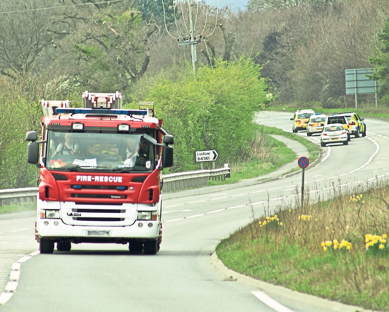 Emergency services at the scene of the crash. Picture by Mark Bowen.