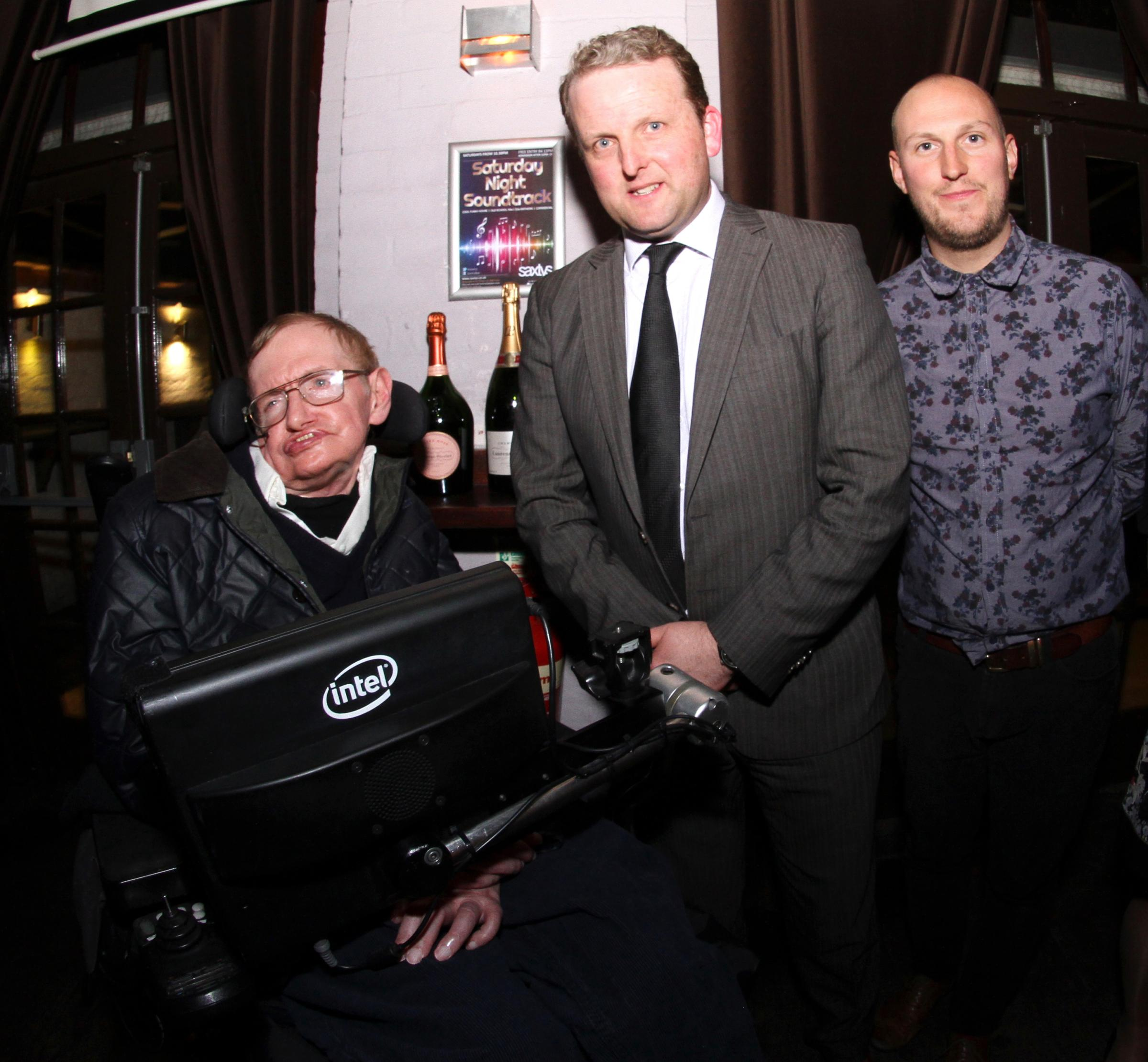 Stephen Hawking with Saxtys owner Edward Symonds (middle) and general manager Joe Williams (right)