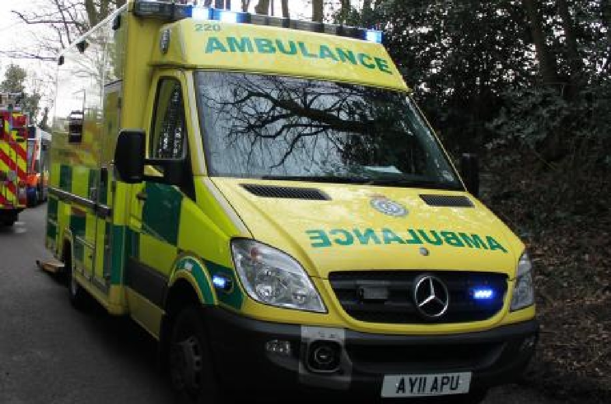 A motorcyclist was conveyed to hospital following the collision yesterday.