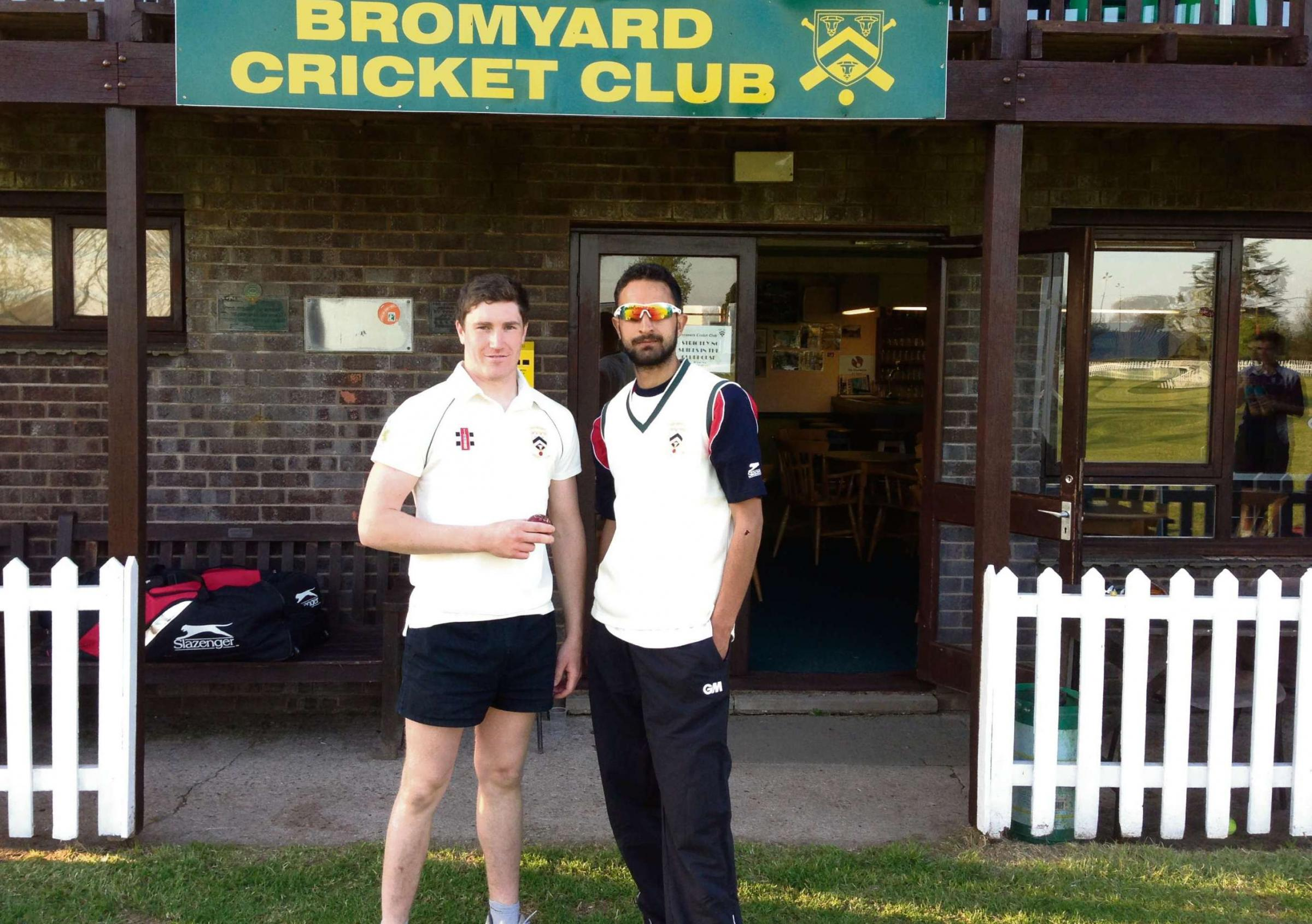 Ahmed Jamal (right) with his new ball partner at Bromyard, Greg Leighton.