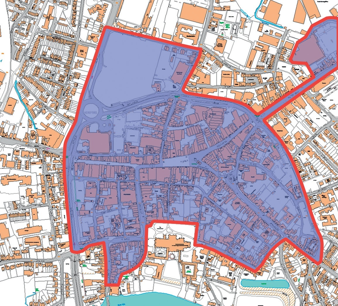 The exact boundaries of the BID area in Hereford are being refined as a part of the consultation process. All streets in the shaded area of the map are being considered.