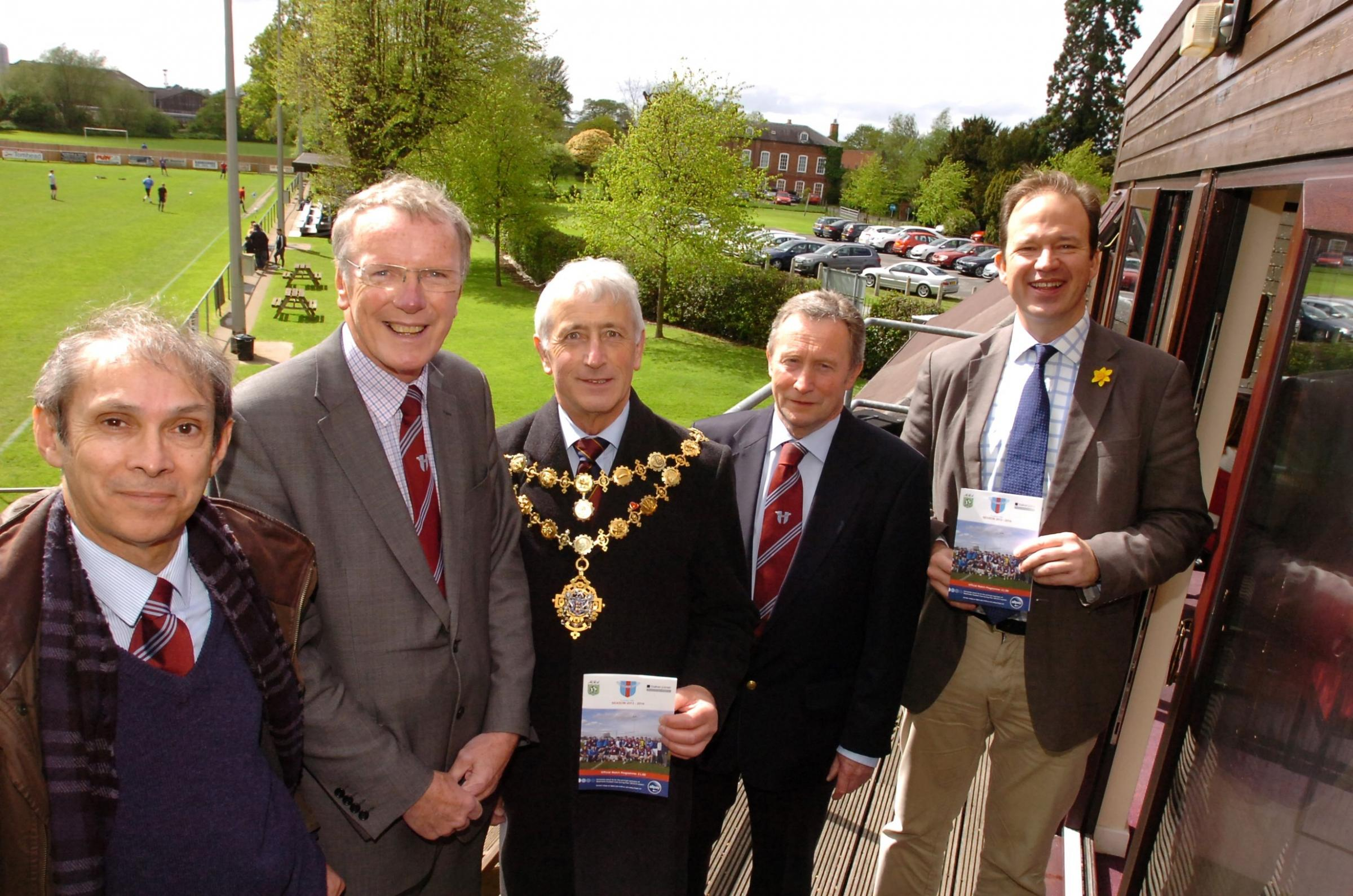 Westfields FC celebrate their 10th anniversary at Allpay Park, Hereford. (l-r), Dr. Jonathan Godfrey (Hereford Sixth Form College Principal), Andy Morris (Chief Executive), Mayor of Hereford Phil Edwards, John