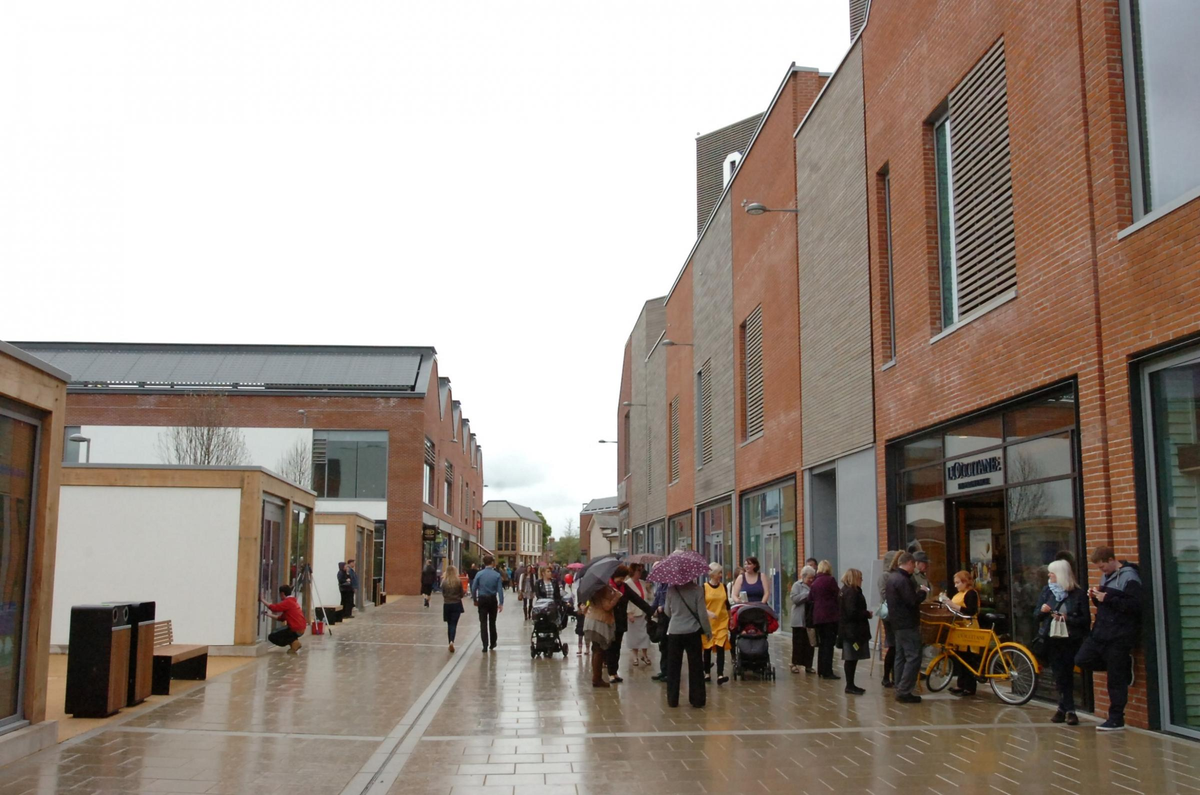 Crowds at the Old Market development as the first shops opened.