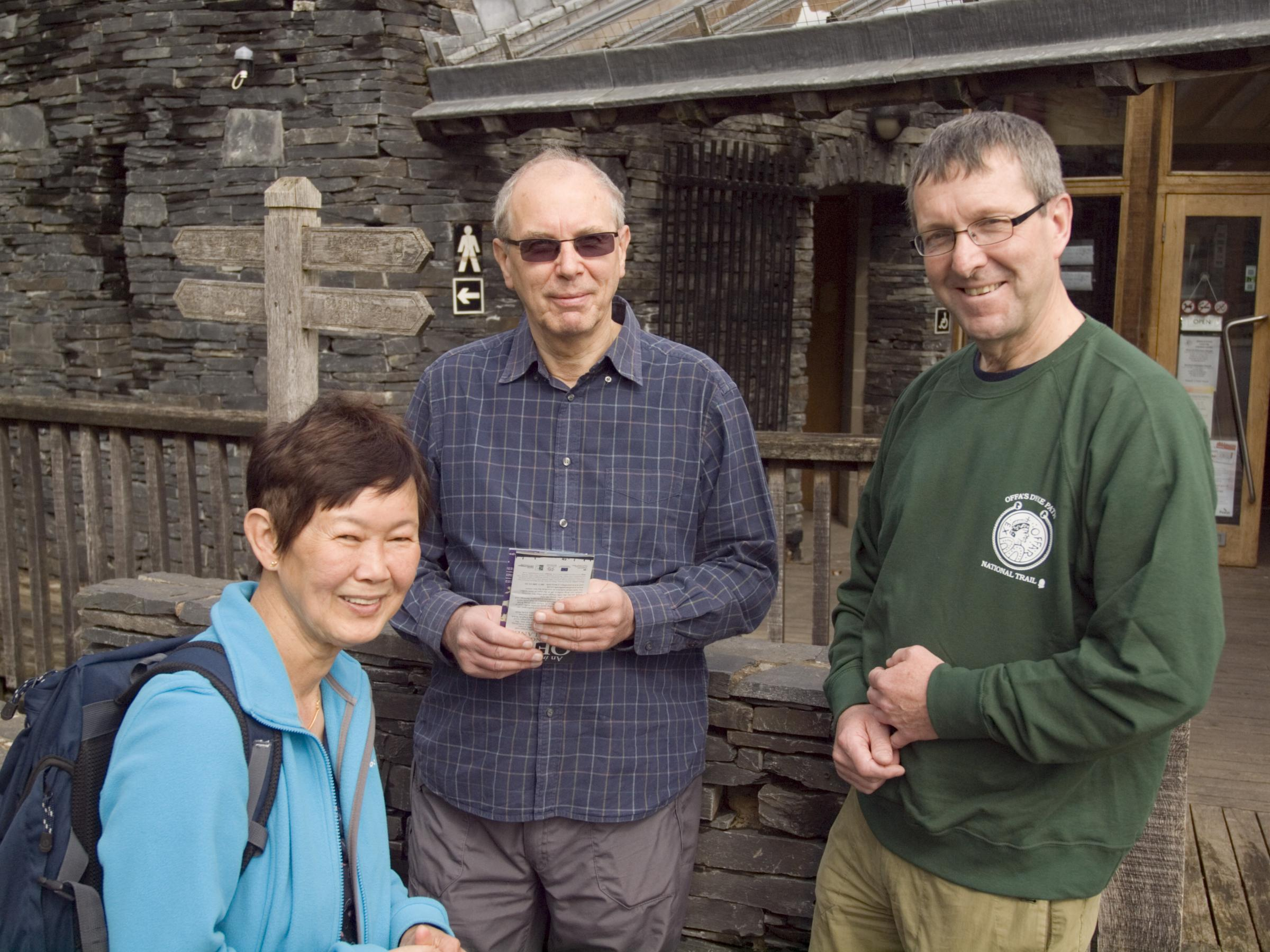 Chairman David McGlade talks with walkers at the Offa's Dyke Centre in Kni
