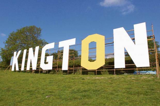 Hereford Times: Hollywood-style letters on Bradnor Hill over Kington to promote the Kington Festival. Kington