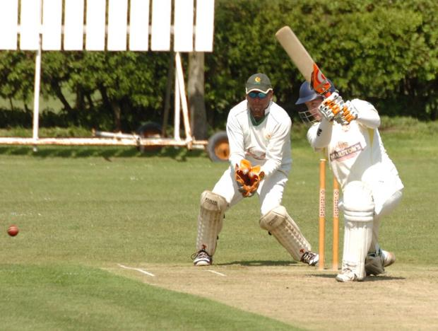 Hereford Times: Eastnor Cricket Club v Attock CC Andrew Fisher batting (5908874)