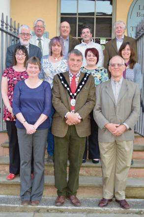 Members of Presteigne and Norton town council Howard Owens, John Wilding, John Mathews, Paul Robinson, Brian Price, Fiona Preece, Nicola Humphries, Beverley Baynham, Hilary Marchant, front, town clerk Tracey Price, Mayor Colin Kirkby and deputy mayor Jame