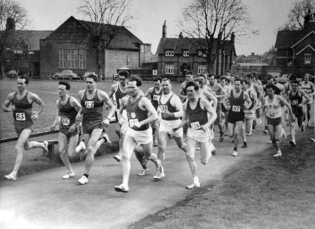 Hereford Times: A picture of the Hereford marathon believed to have been taken in the 1960's which includes John Tarrant (back, middle).