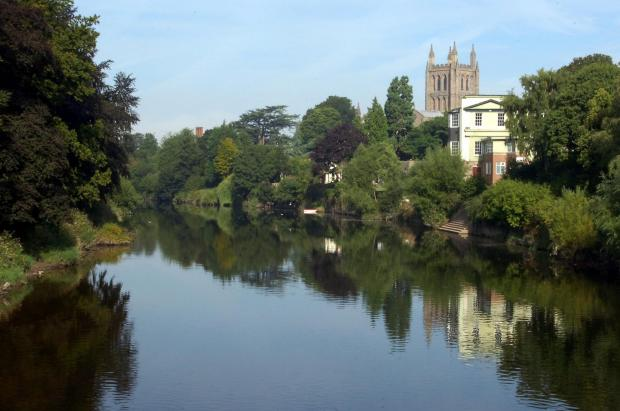 A man rescued a woman from the River Wye in Hereford last night.