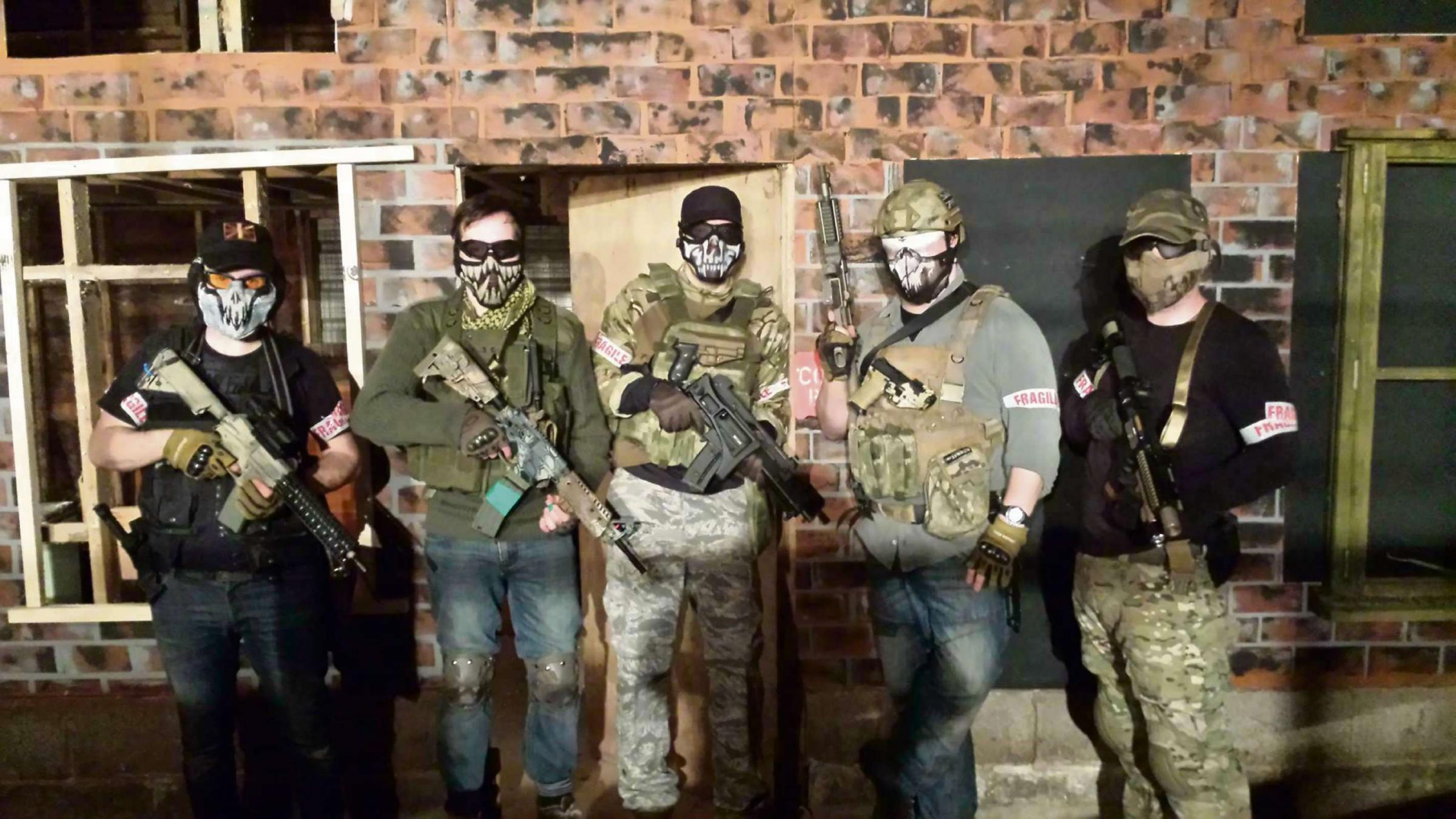 The 'Badger Squadron' Airsoft team, including squadron leader Joe Ward (second from right).