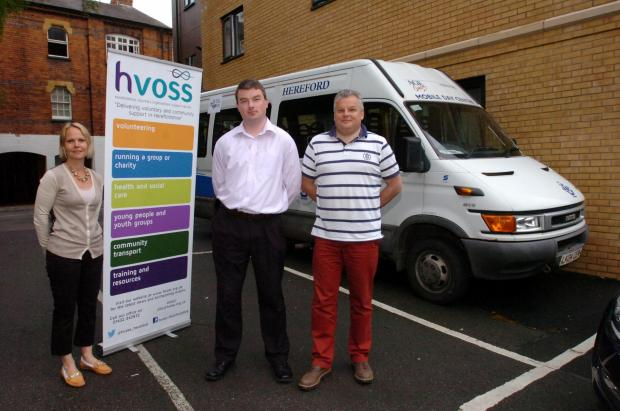 Hereford Times: HVOSS is piloting a new minibus sharing scheme: (l-r) Project manager Rachael Manacchini-Godfrey with Stuart Townsend of Age UK Hereford and Locality and John Eden, chief executive of Herefordshire Vision Links, with the Age UK minibus. (6371218) Picture: