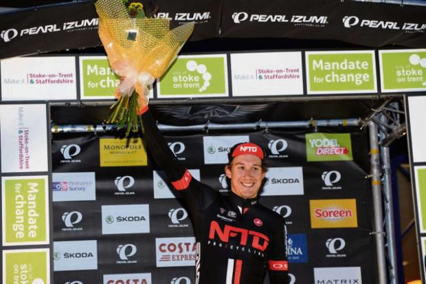 Hereford-based NFTO Pro Cycling star Jon Mould celebrates a win. Photograph by Larry Hickmott, VeloUK