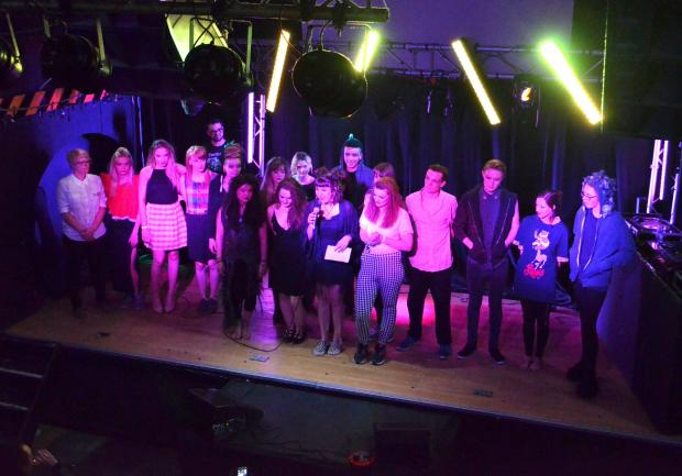 Hereford Times: Models and designers for Hereford College of Arts on stage after the fashion show at The Jailhouse.