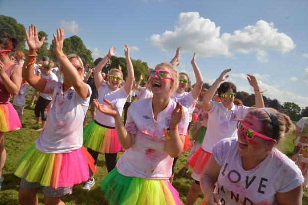 Hereford Times: Paint Runner participants enjoying the warm up.