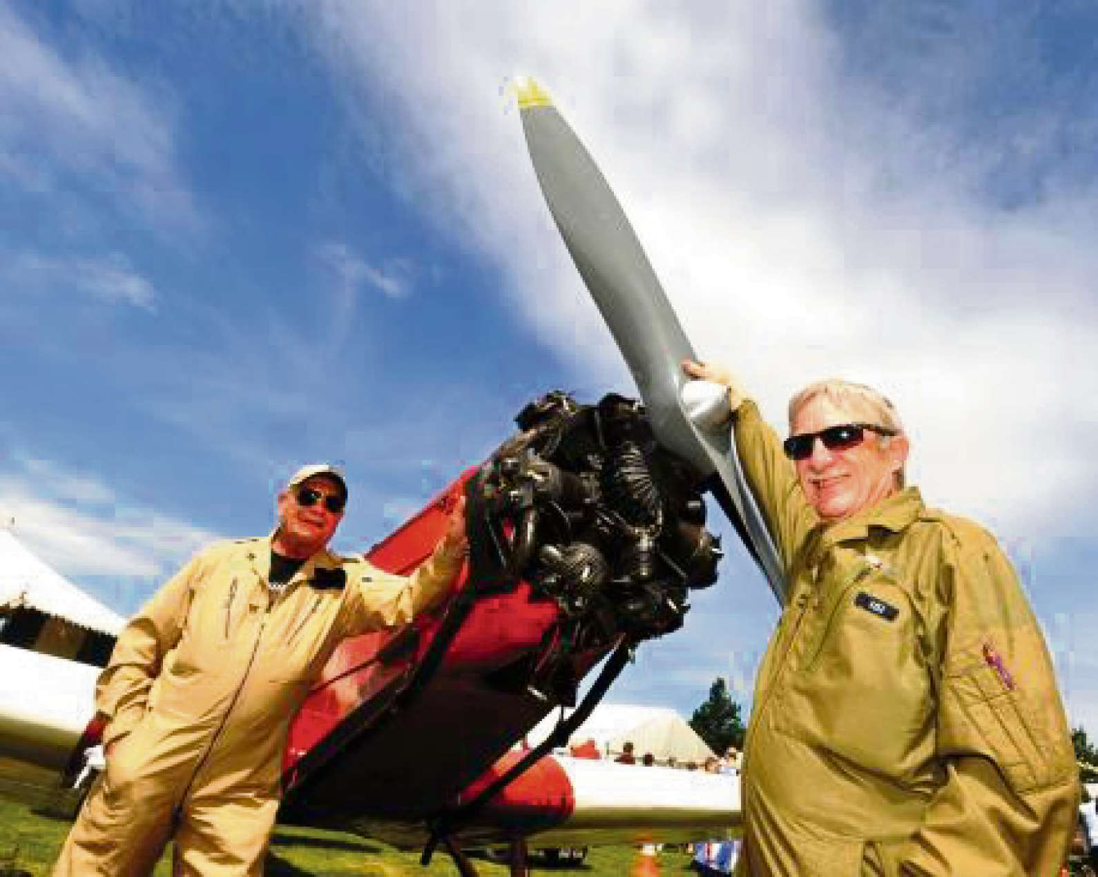 Hereford Aero club members Jim Howells (left) and Barrie Thomas with a 1937 B.A. S