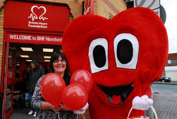 British Heart Foundation furniture and electrical store manager, Sandra Preece, with Mr Hearty.