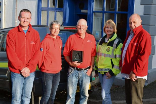 Some of the Knighton Community First Responders with the award. Adie Preece, Helen Carter, Brian Jones, Kay Morris and Ian Carter.