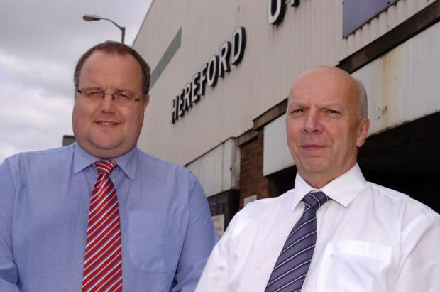 Jon Hale (left) with Chris Williams, chairman of Hereford United Supporters Trust.