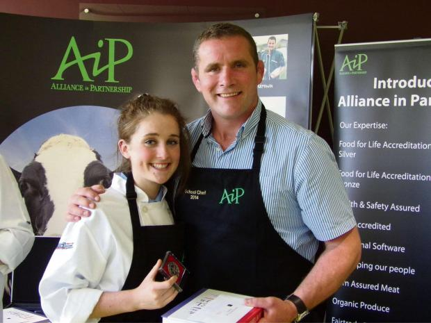 Ellie Bailey with Phil Vickery, winner of Celebrity MasterChef in 2011and judge of the School Chef of the Year competition.