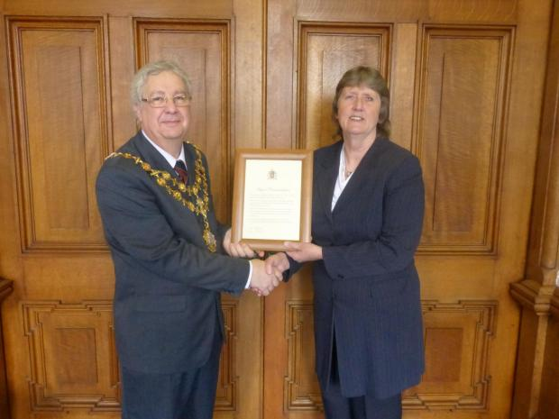 The mayor of Hereford, Cllr Len Tawn and Sally Hollingshead.