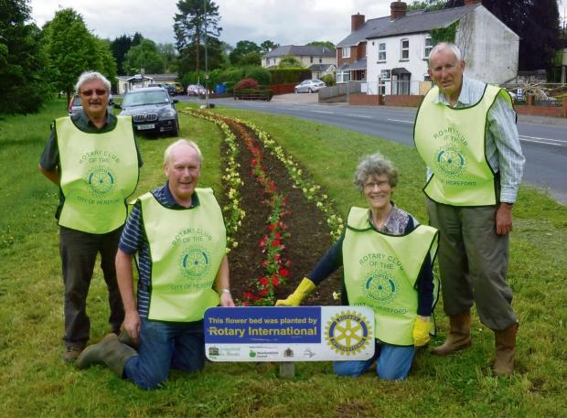 Club members planting up the display at the bottom of Aylestone Hill.