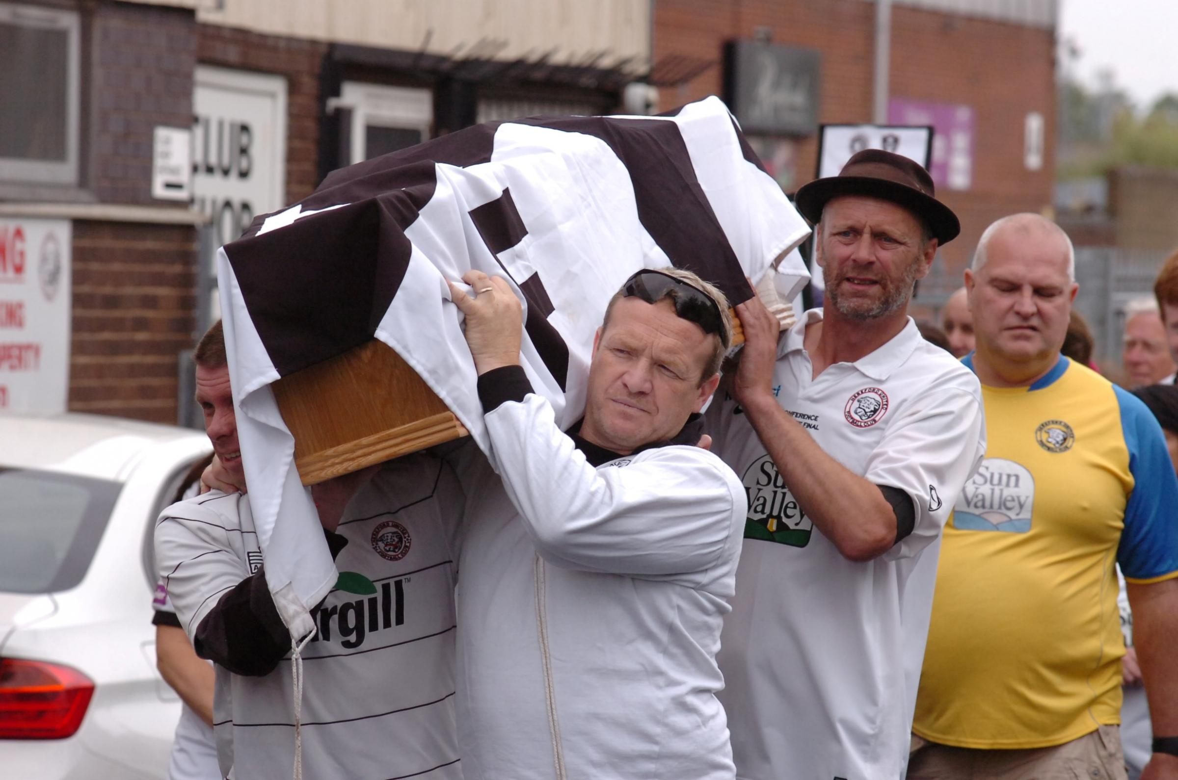 Video and pictures: Hereford United fans stage 'funeral march' through the city