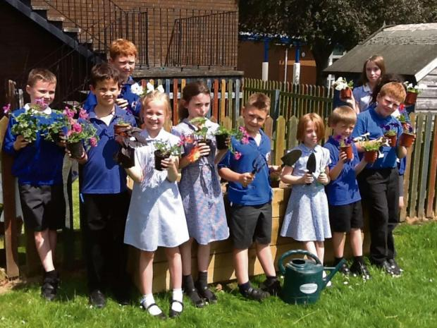 Hereford Times: Balfour Beatty Living Places help pupils at Hampton Dene Primary School, plant one of their raised flower beds.