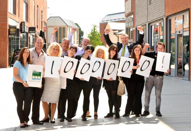 Old Market staff celebrate the centre's 1,000,000th customer.