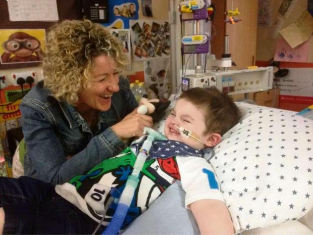 Louise Phillips visiting Freddie Saunders who has been receiving treatment at Birmingham Children's Hospital.