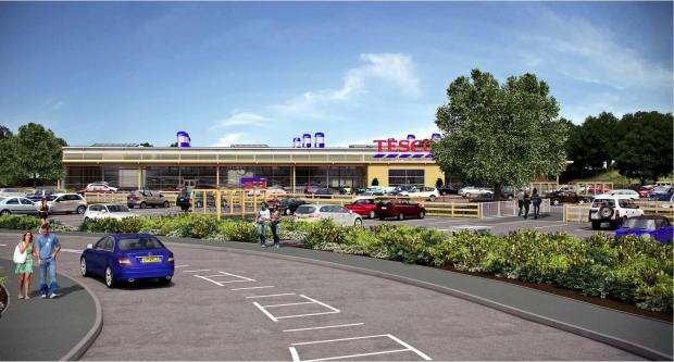 An artist's impression of what the new Tesco supermarket would look like.