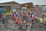 Cyclists set off during the Wheelie Big Cycle in aid of St Michael's Hospice