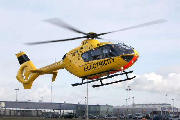 The Western Distribution Power helicopter is now patrolling overhead power lines in the county.