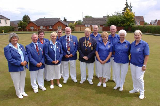 Leominster Bowling Club celebrates its centenary with a match against Bowls England at Aldermans Meadows.Back from left, Angela Harris, Gerald Pitt, Richard Boulton, Richard Newman. Front from left, Rosemary Ellman-Brown, Michael Jennings, Marcia Pearce,