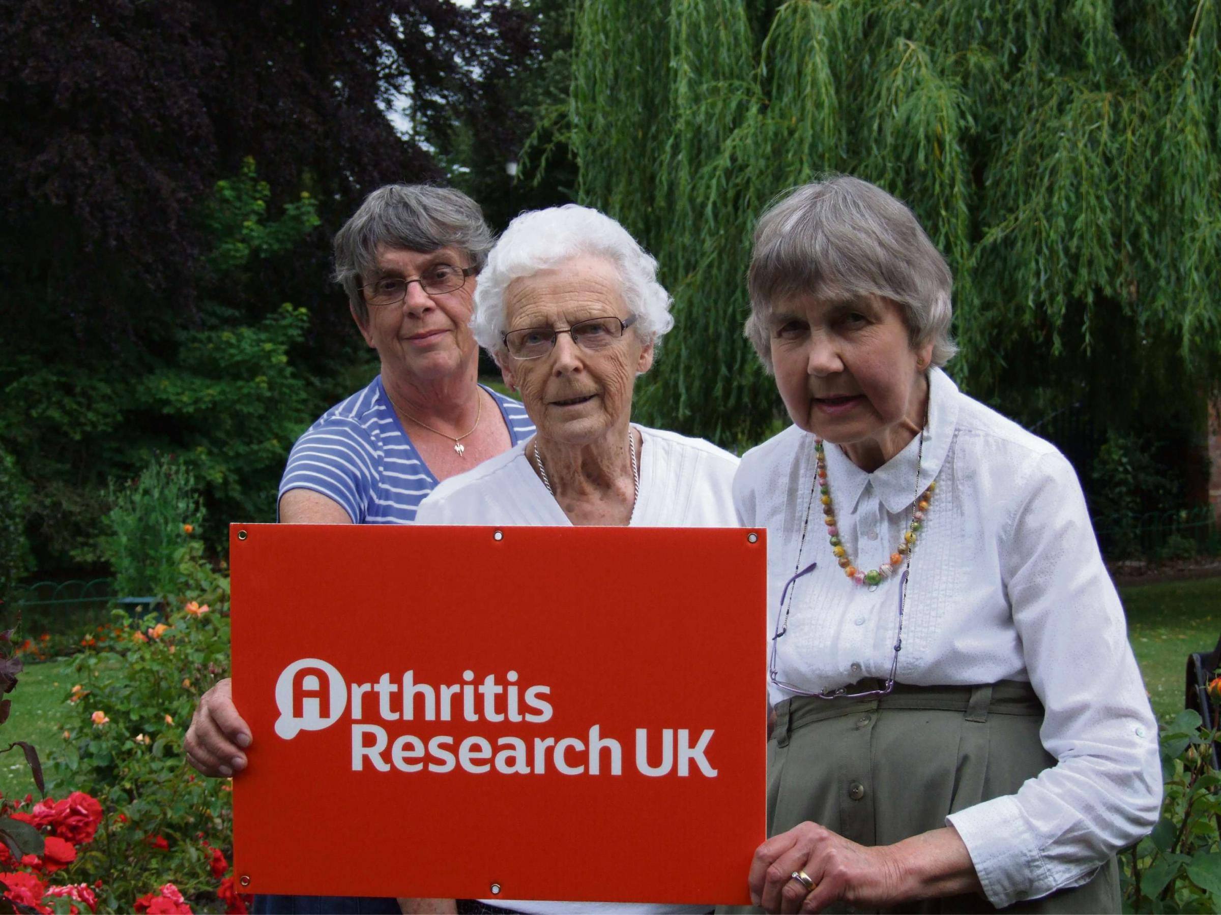 Myrtle Middleton, Judith Hereford and Jennie Francis, respectively the ex-chairman, treasurer and secretary of the old Hereford branch of Arthritis Research UK.