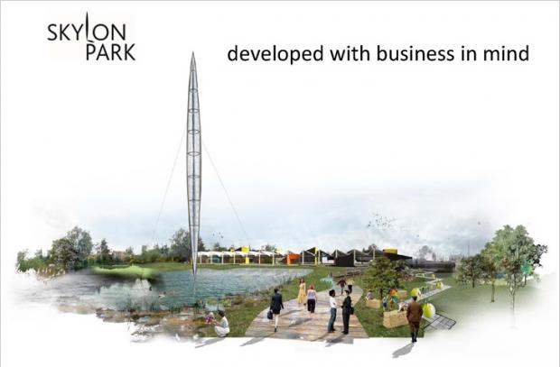 An architect's representation of what Skylon Park may look like when finished - complete with its own skylon.