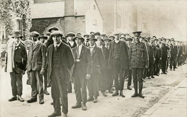 Recruits sign up in St Ethelbert Street, Hereford, in 1914. PHOTO: Derek Foxton Collection