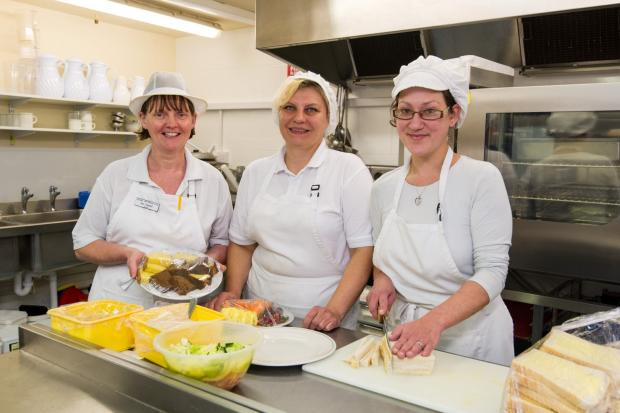 Kitchen staff at Lynhales back home where they belong. From left: Bev Eagles, Chef, with Kitchen Assistants Sanita and Kristyna.
