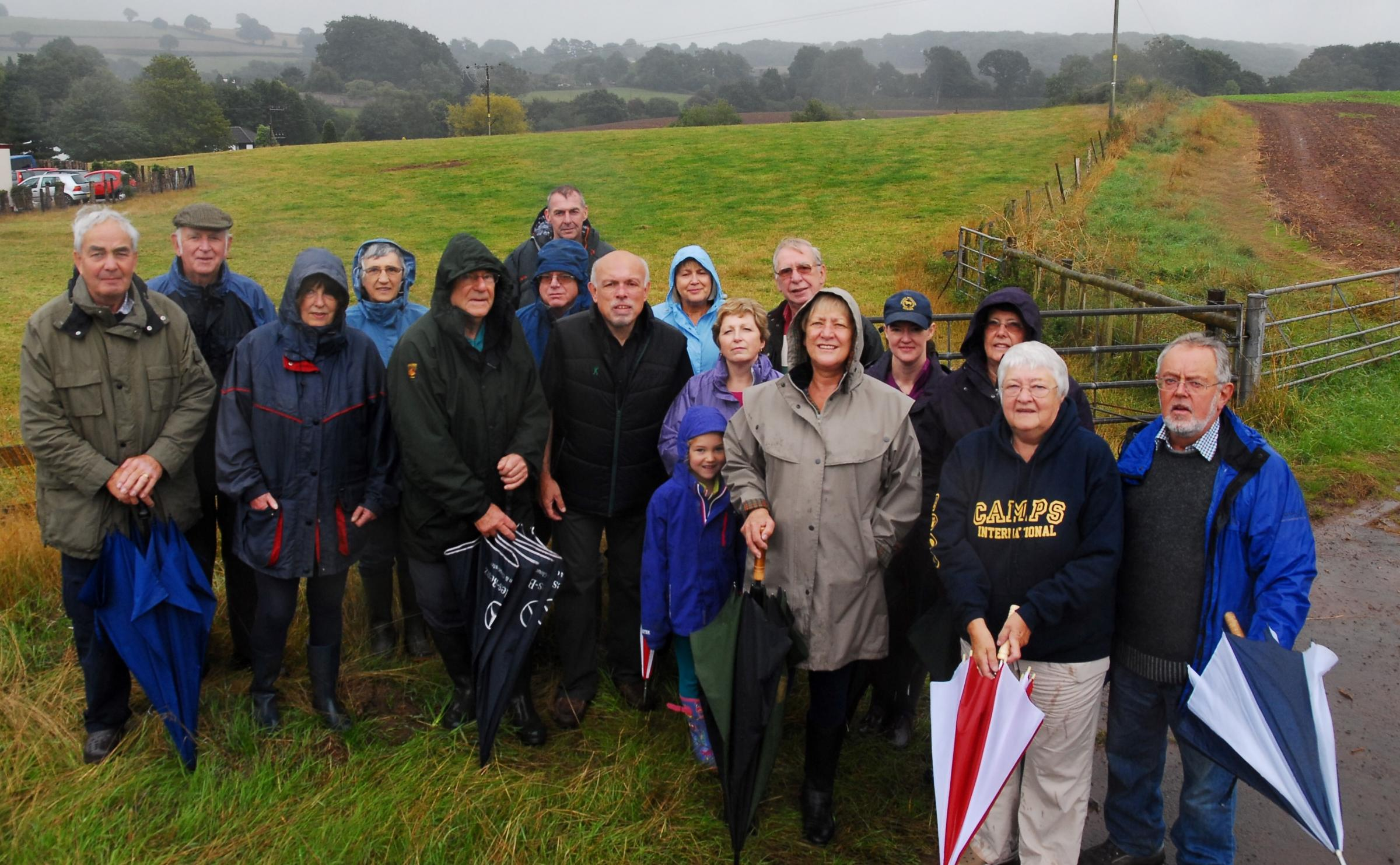 Lea villagers overlooking one of the sites for proposed in the village.Photo: David Griffiths.