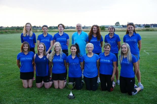 The winning Locals squad, back row (left to right): Leah Smith, Sarah Jones, Julie Jones, Roderic Gass, Sharon Major, Sharon Magness, Harriet Major; front: Lorraine Arms, Ellie Cockburn, Sharon Powell, Olivia Major, Kate Morgan, Jane Allen and Lauren Prit