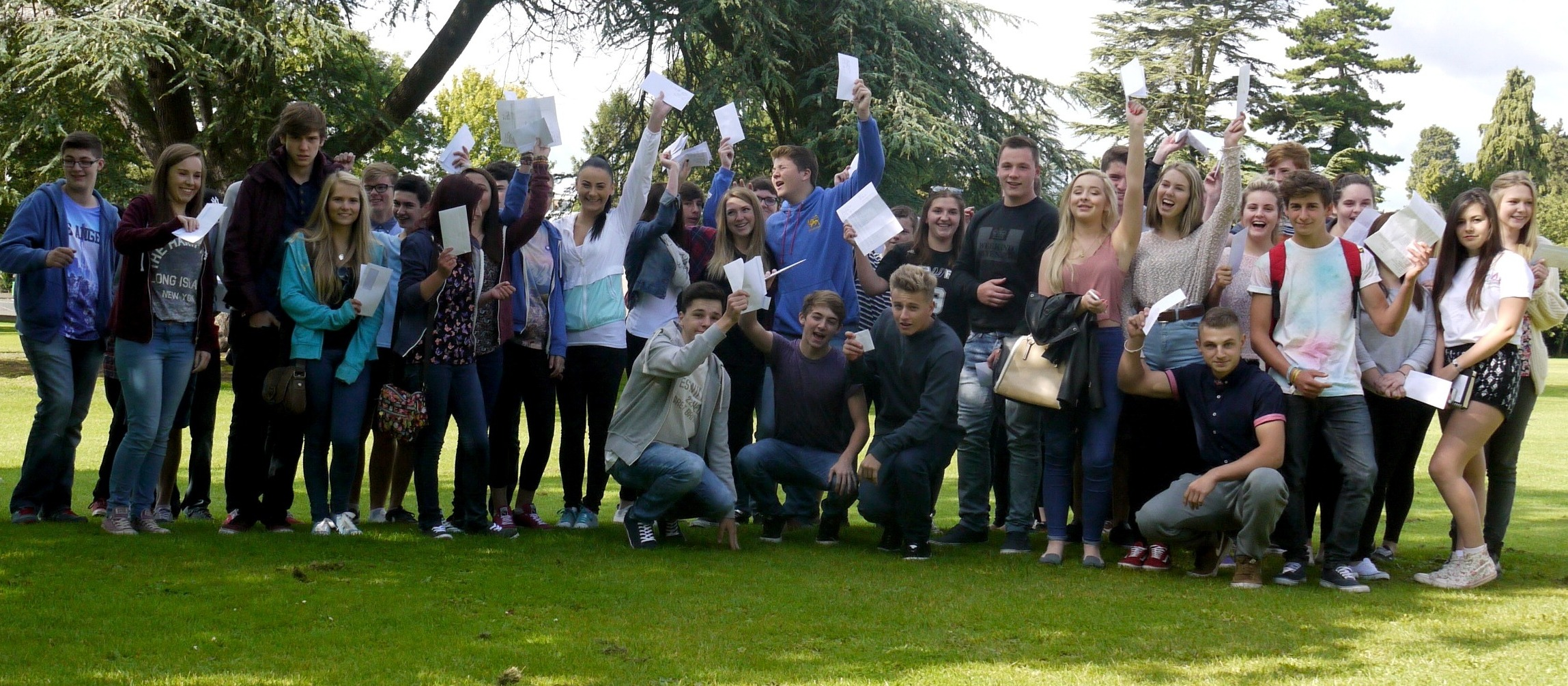 Aylestone students celebrating their GCSE results.