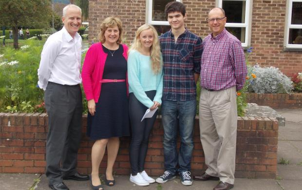 (From left) Rob Wallace (head of Sixth Form),  Karen Frost (chair of governors),  Phoebe Matthews (head girl),  Billy Jones (head boy) and Nigel Griffiths (headteacher).