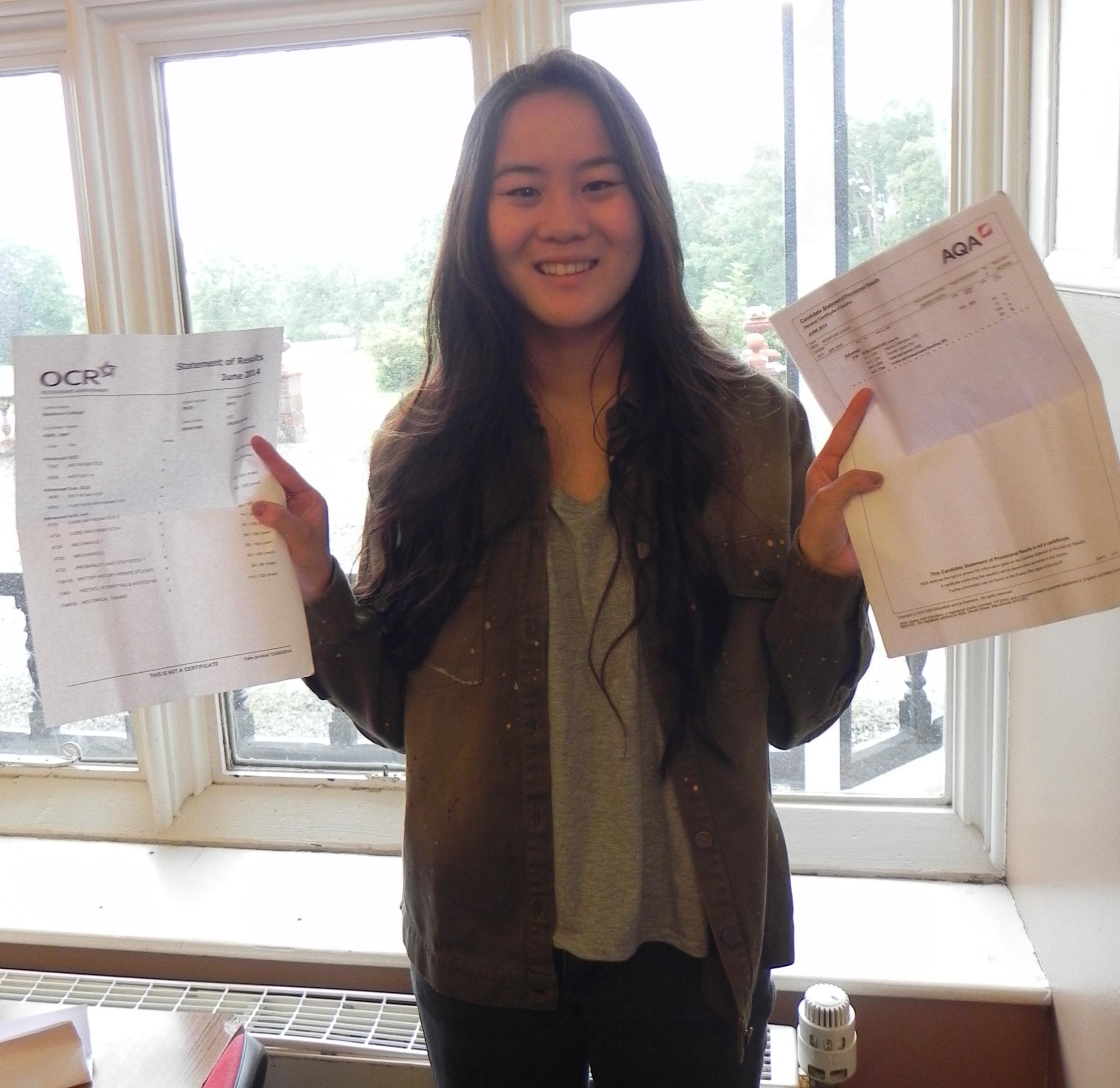 Amy  King from Knighton celebrates getting straight A grades.