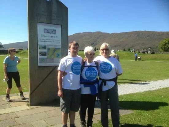 The trio that took on the charity challenge was, from left, Aidan Bracher, Sheila Cole and Laura Vickers.