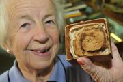 Hazel Hodges holds the Chelsea bun sent to her dad on the front line of the First World War. It features as part of an exhibition held at Leominster Library from next month. Photo: Andy Compton. is on display at Leominster Museum in Herefordshire. The bun