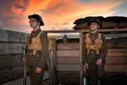 Whitecross pupils, Billy Lambert and Josh Selwyn, dressed as First World War soldiers.